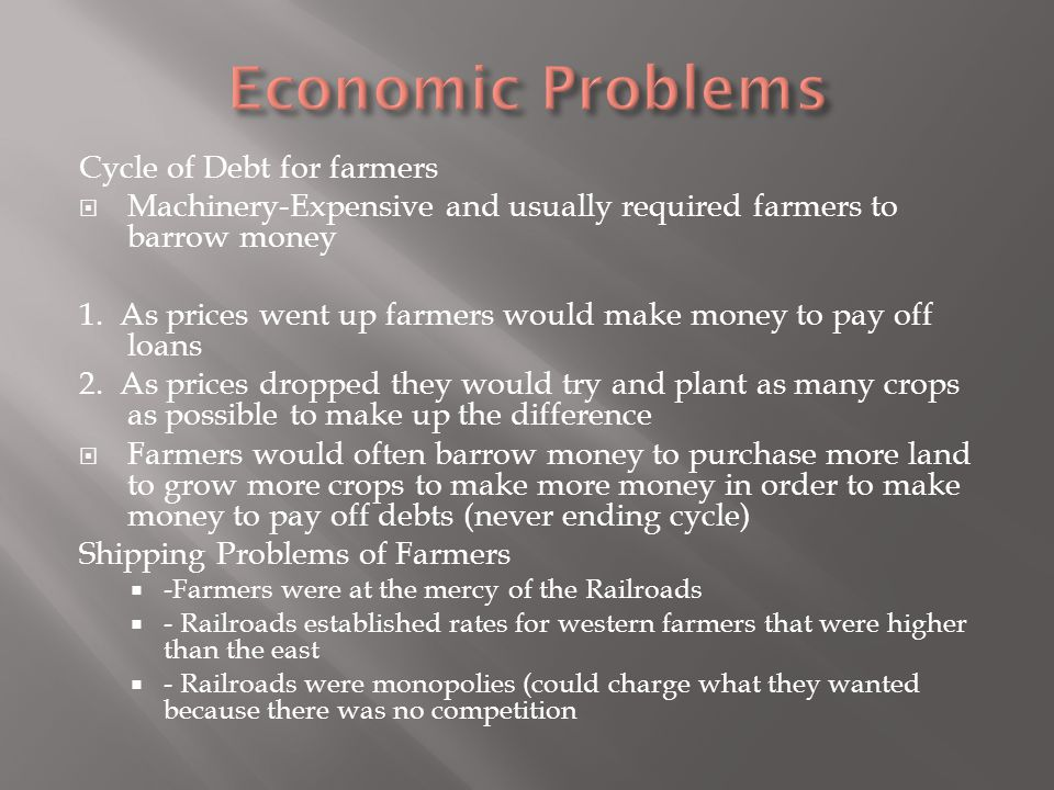 Economic Problems Cycle of Debt for farmers