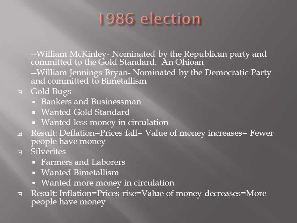 1986 election --William McKinley- Nominated by the Republican party and committed to the Gold Standard. An Ohioan.