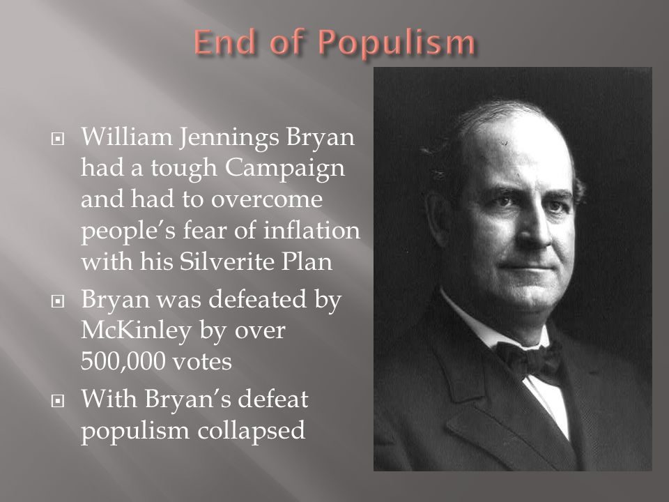 End of Populism William Jennings Bryan had a tough Campaign and had to overcome people's fear of inflation with his Silverite Plan.
