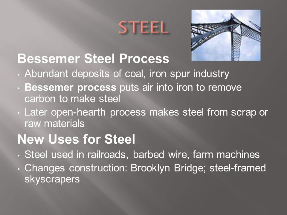 STEEL Bessemer Steel Process New Uses for Steel