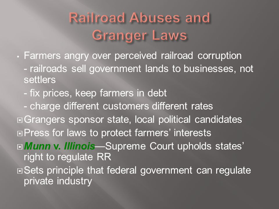 Railroad Abuses and Granger Laws