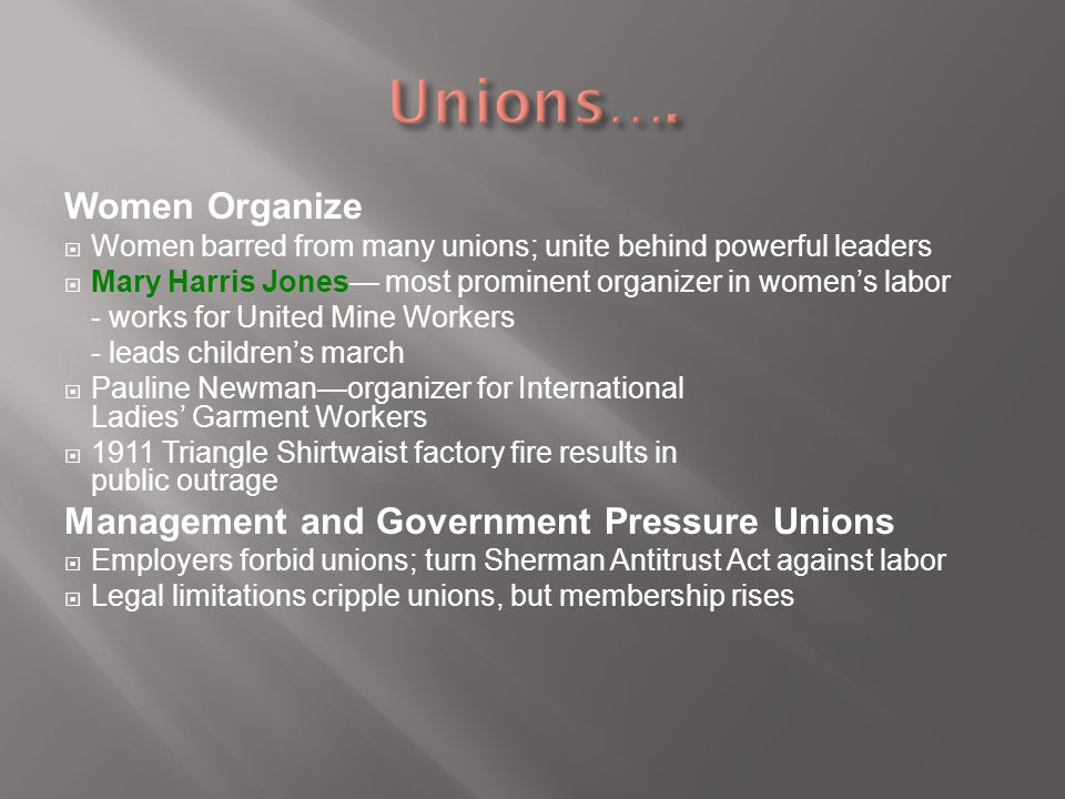 Unions…. Women Organize Management and Government Pressure Unions