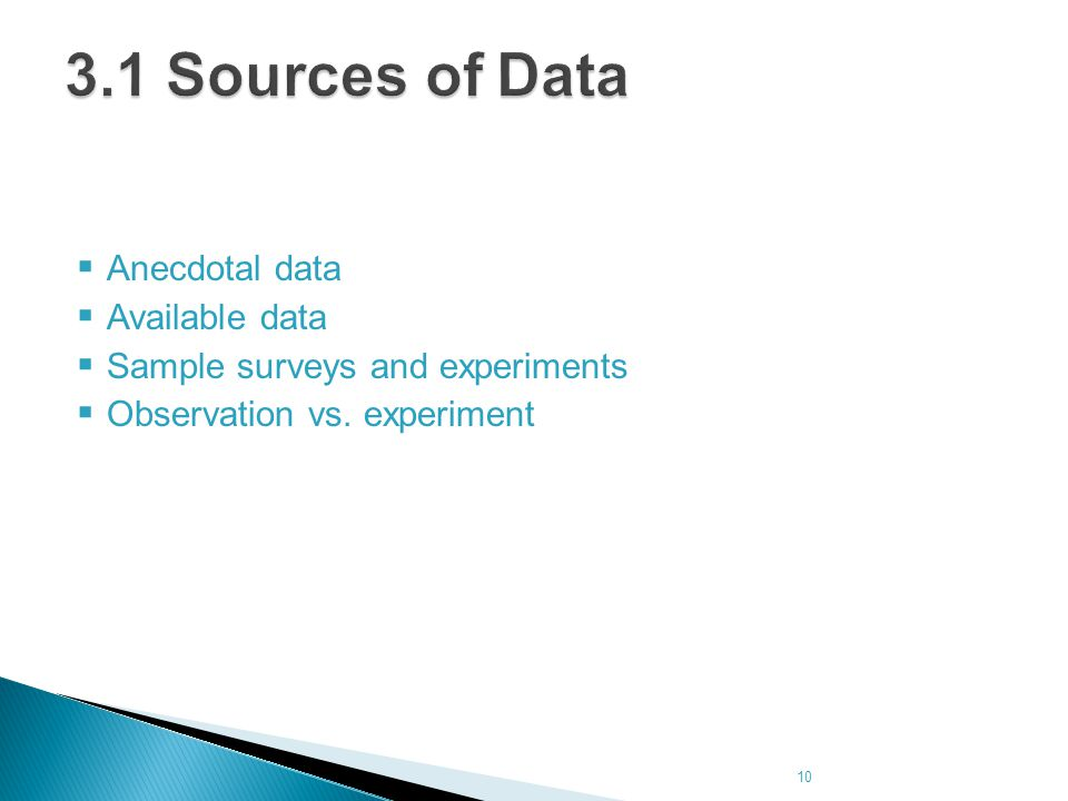 3.1 Sources of Data Anecdotal data Available data