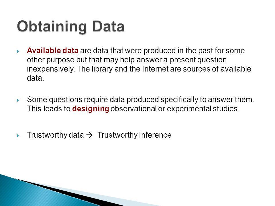 Obtaining Data