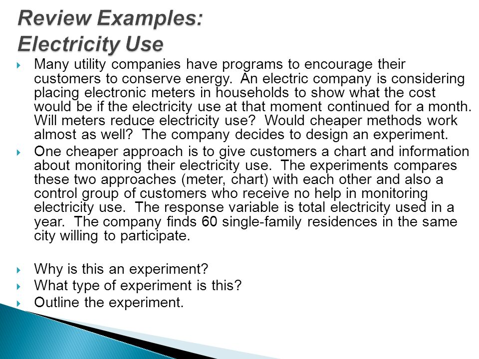 Review Examples: Electricity Use