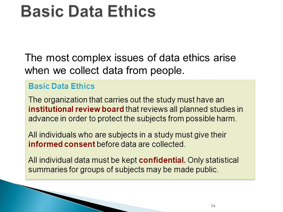 Basic Data Ethics The most complex issues of data ethics arise when we collect data from people. Basic Data Ethics.