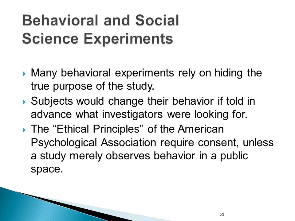 Behavioral and Social Science Experiments