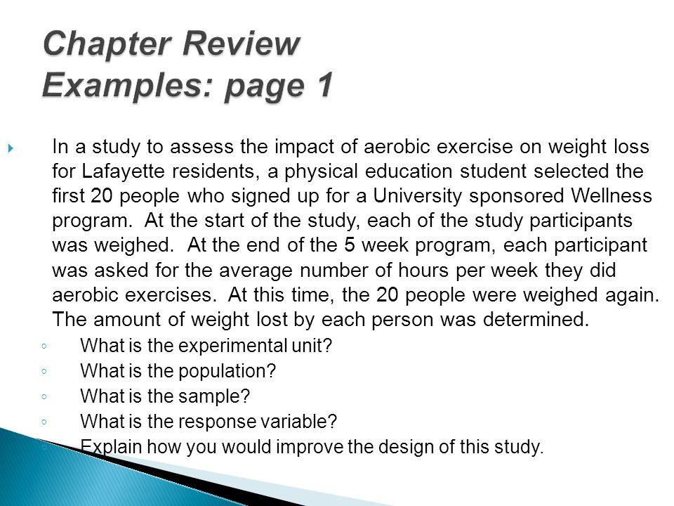 Chapter Review Examples: page 1