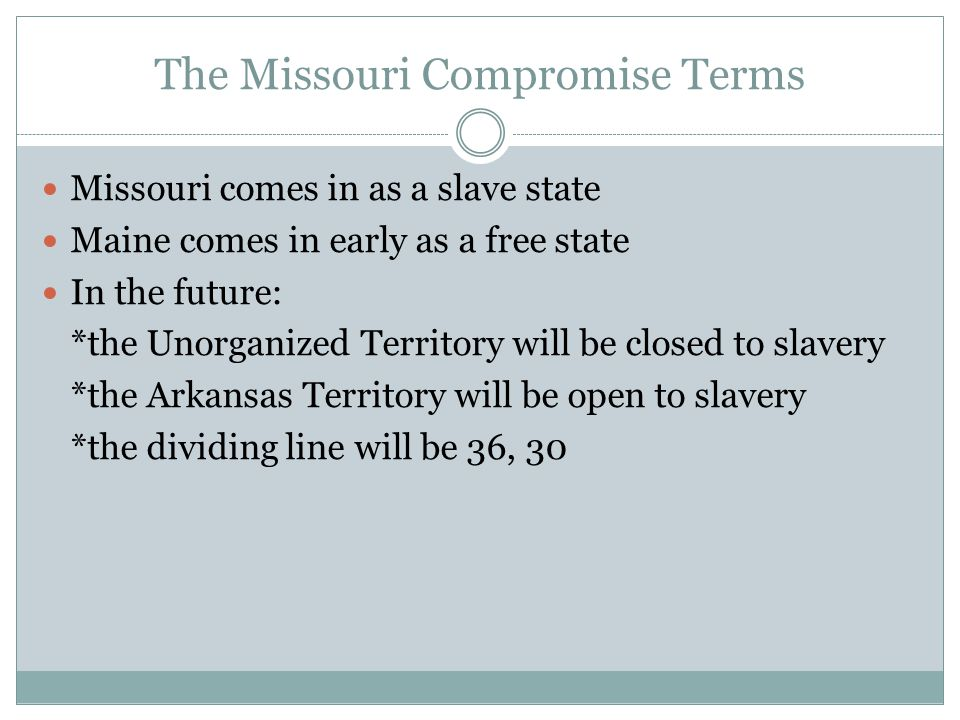 The Missouri Compromise Terms