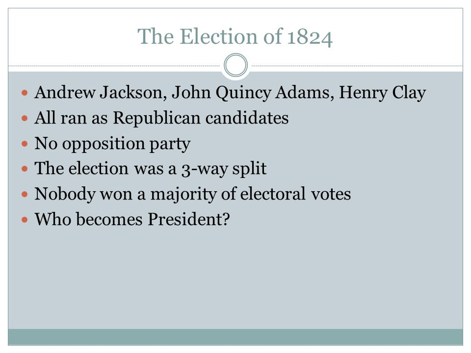 The Election of 1824 Andrew Jackson, John Quincy Adams, Henry Clay