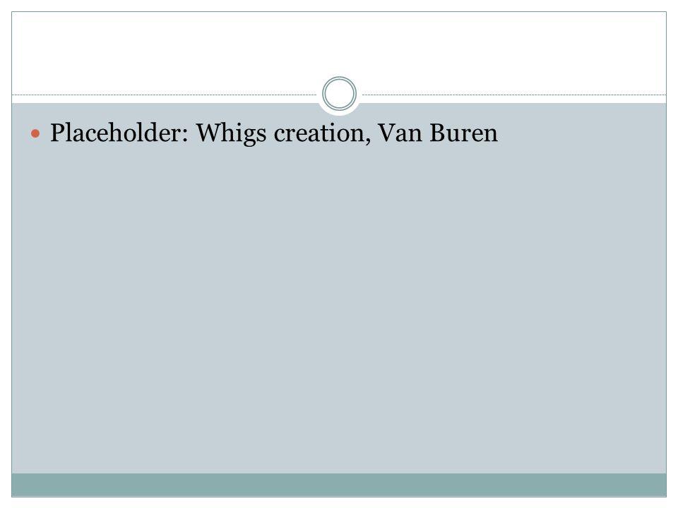 Placeholder: Whigs creation, Van Buren