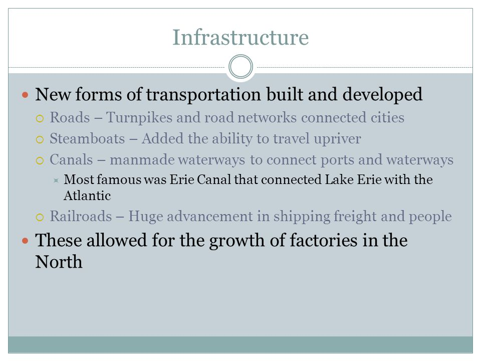 Infrastructure New forms of transportation built and developed