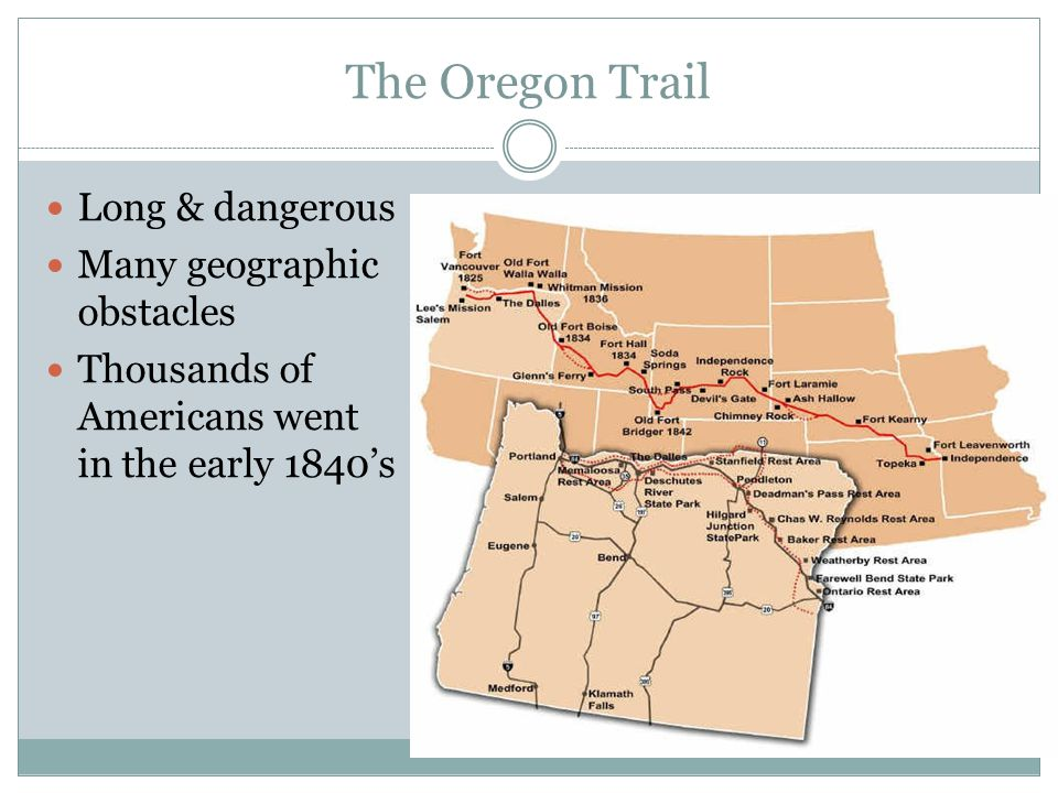 The Oregon Trail Long & dangerous Many geographic obstacles