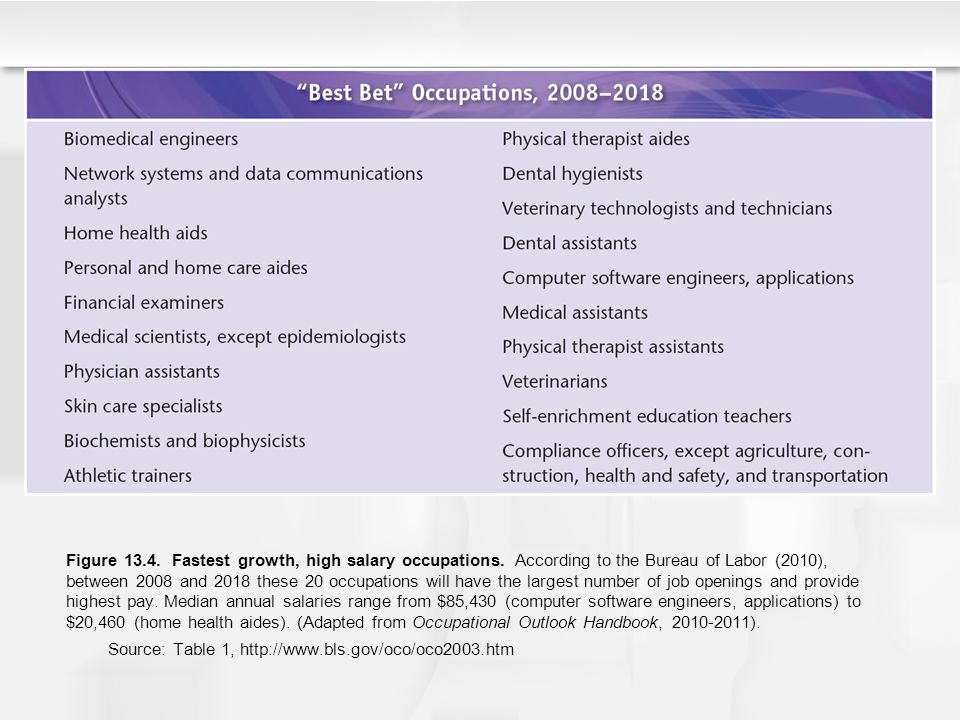Figure 13. 4. Fastest growth, high salary occupations