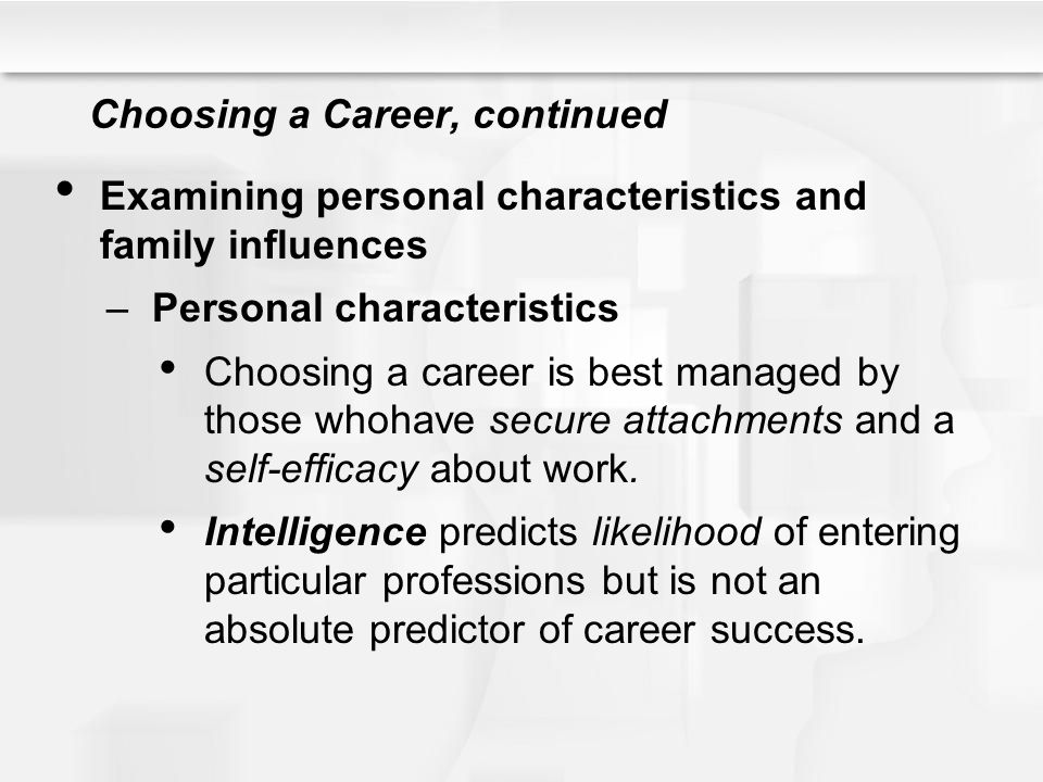 Choosing a Career, continued