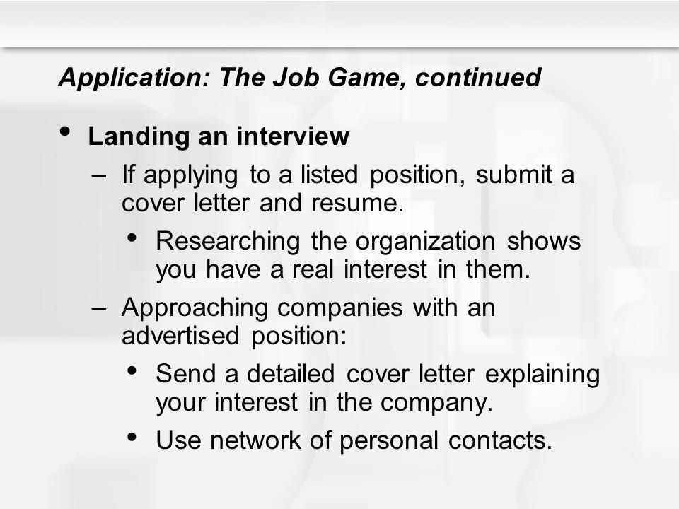Application: The Job Game, continued