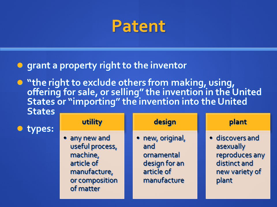 Patent grant a property right to the inventor