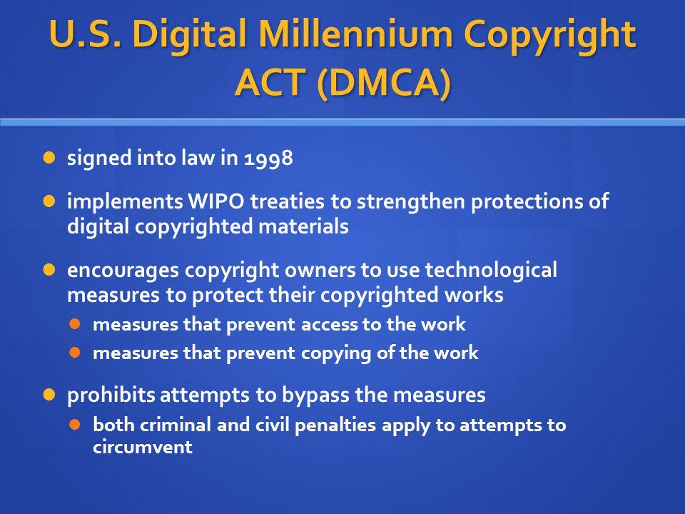 U.S. Digital Millennium Copyright ACT (DMCA)