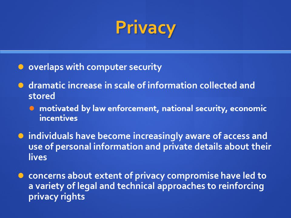 Privacy overlaps with computer security