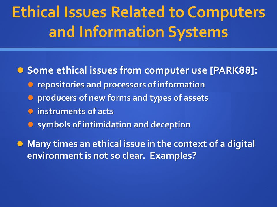 Ethical Issues Related to Computers and Information Systems