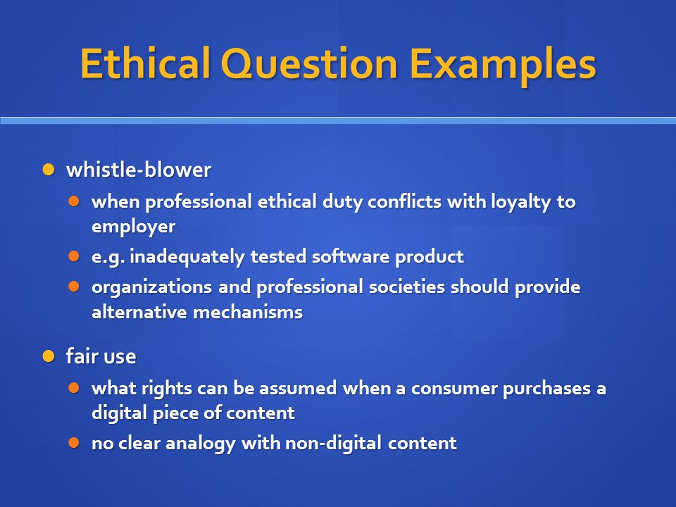 Ethical Question Examples