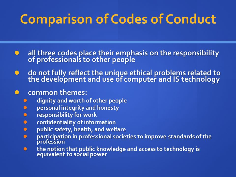 code of ethics comparison Ethical codes are adopted by organizations to assist members in understanding  the difference between 'right' and 'wrong' and in applying that understanding to.