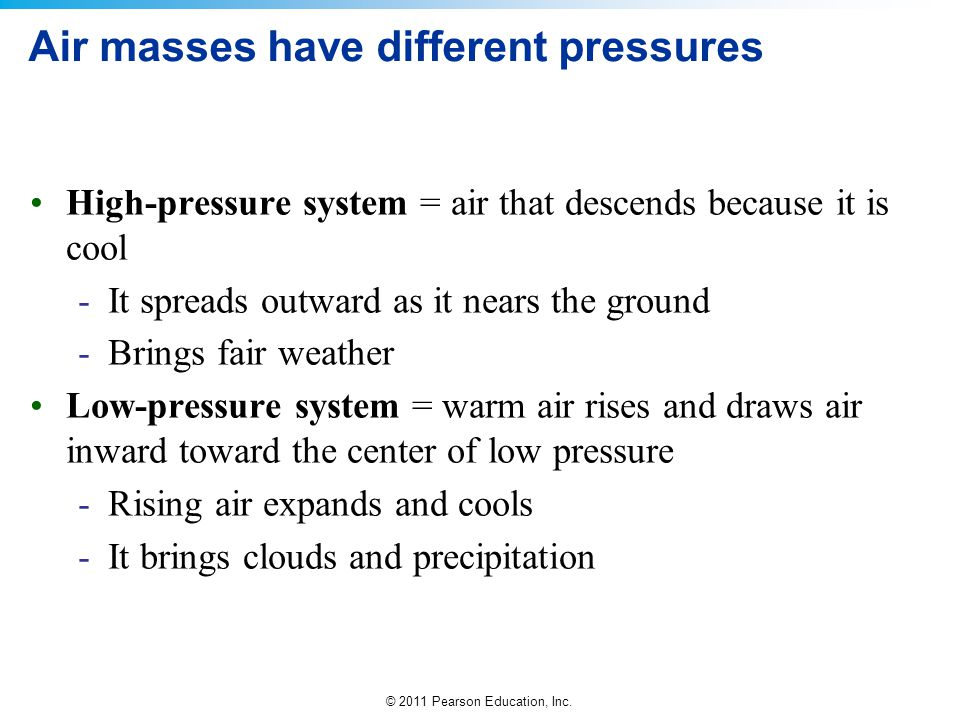 Air masses have different pressures