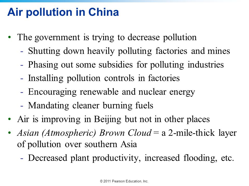 Air pollution in China The government is trying to decrease pollution