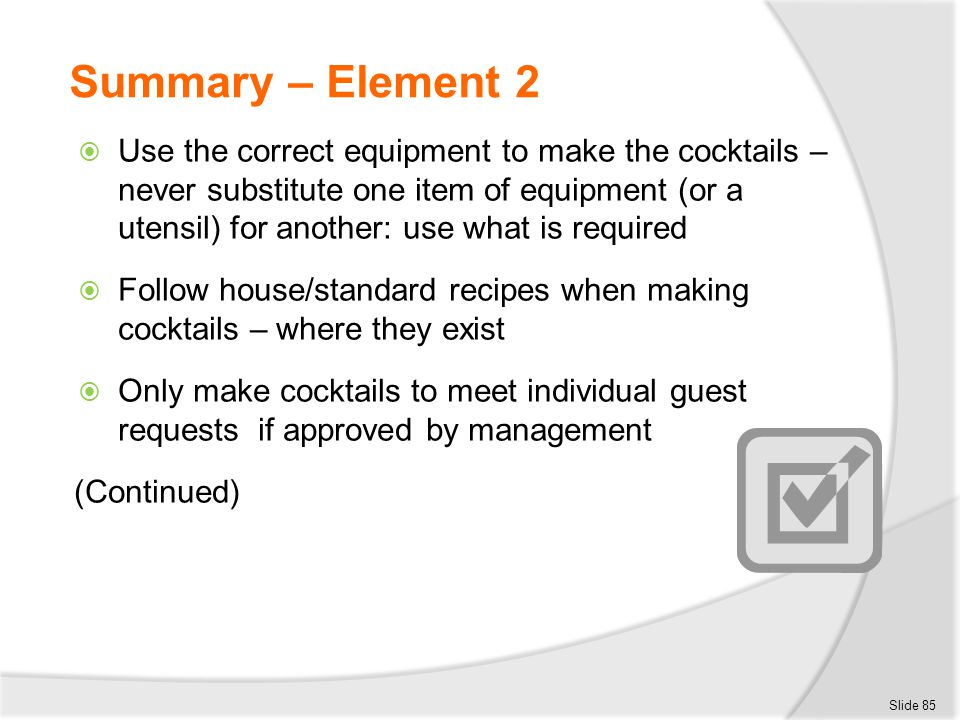 Summary – Element 2