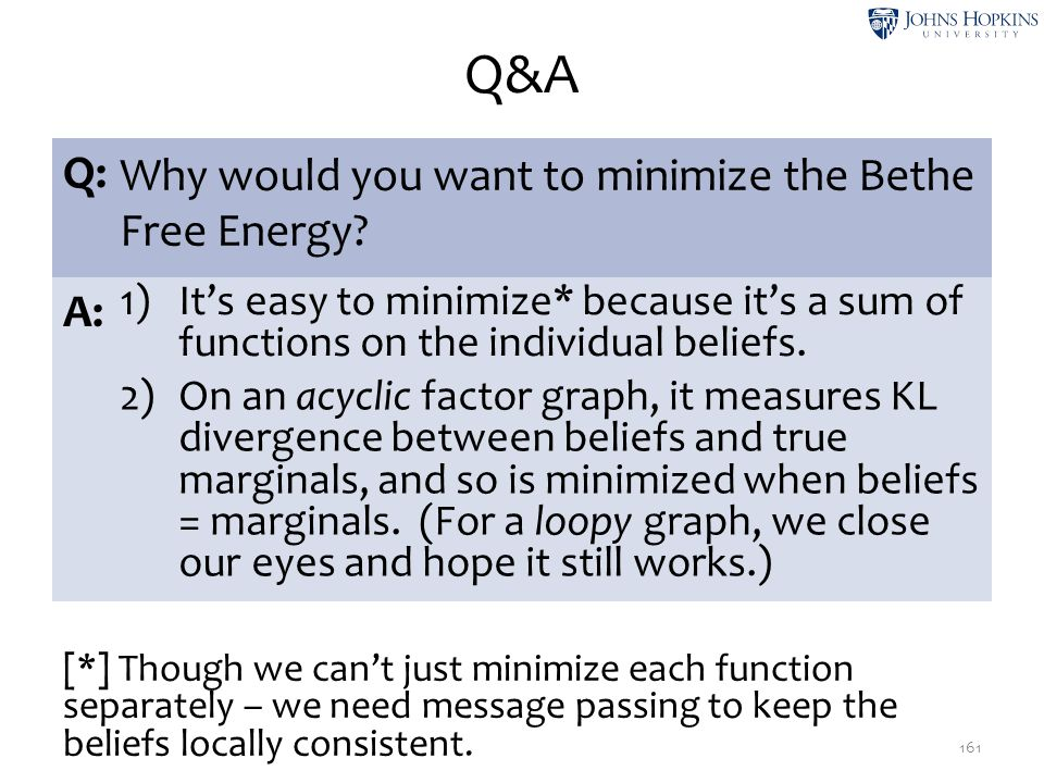 Q&A Q: Why would you want to minimize the Bethe Free Energy A: