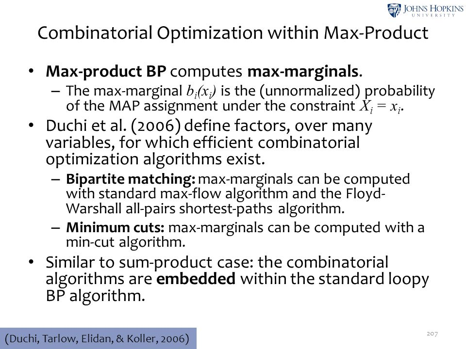 Combinatorial Optimization within Max-Product