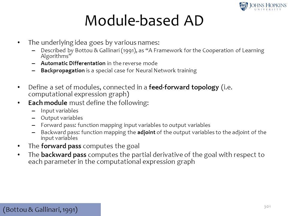 Module-based AD The underlying idea goes by various names: