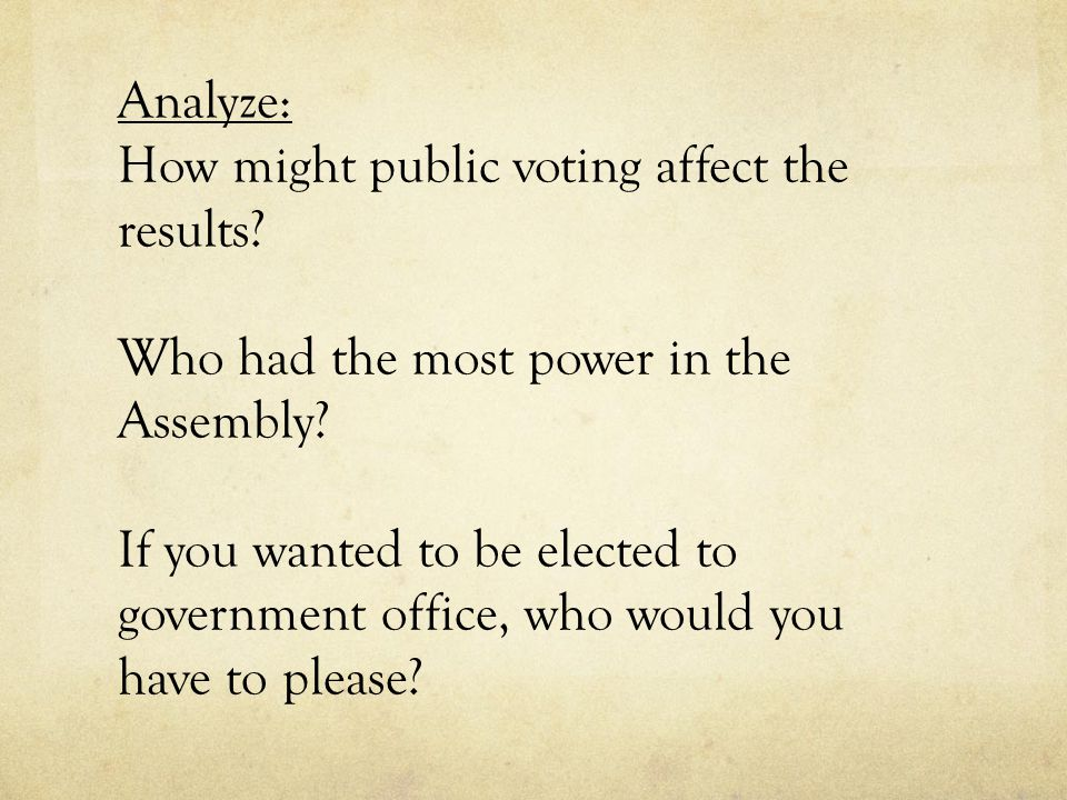 Analyze: How might public voting affect the results