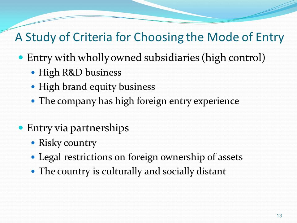 A Study of Criteria for Choosing the Mode of Entry