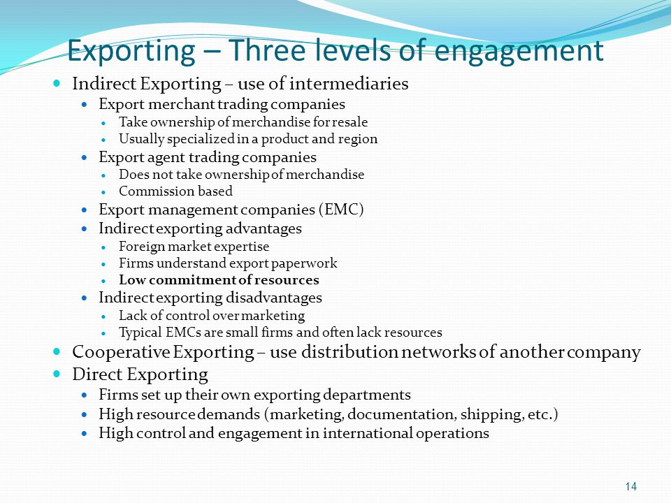 Exporting – Three levels of engagement