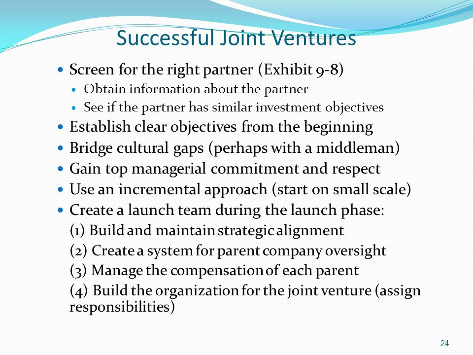 Successful Joint Ventures