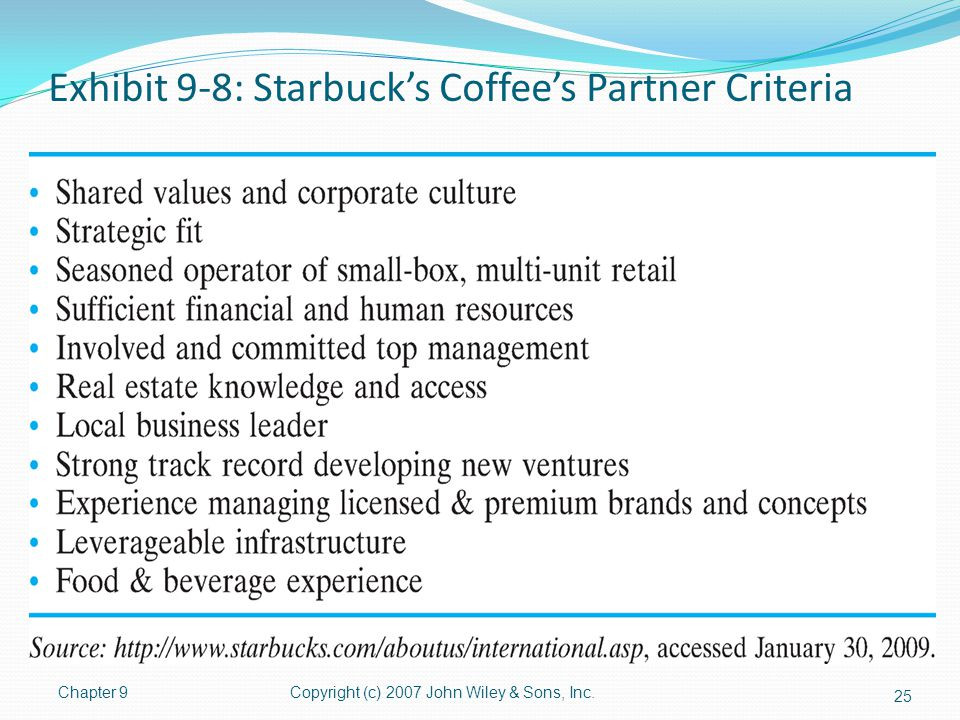 Exhibit 9-8: Starbuck's Coffee's Partner Criteria