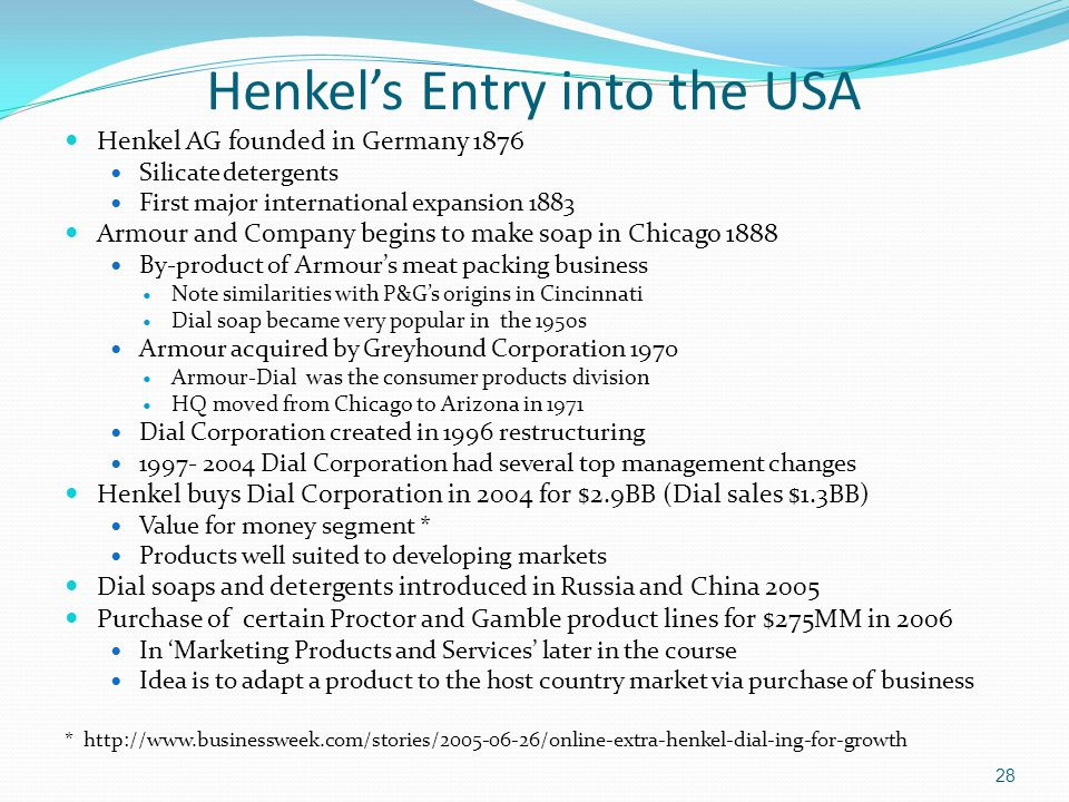 Henkel's Entry into the USA
