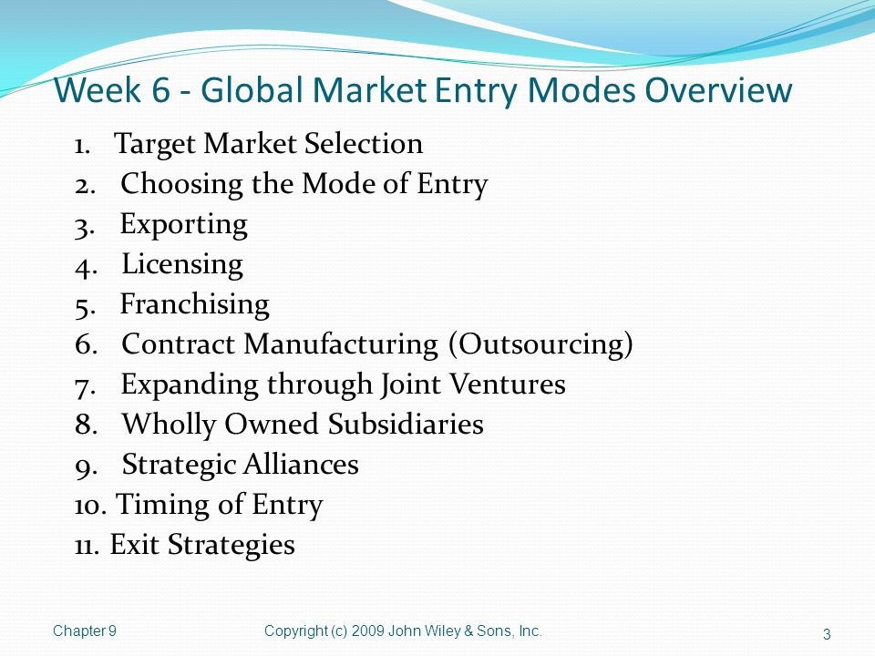 Week 6 - Global Market Entry Modes Overview