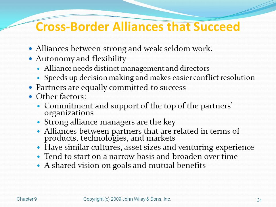 Cross-Border Alliances that Succeed