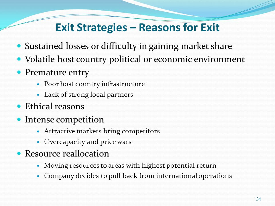 Exit Strategies – Reasons for Exit