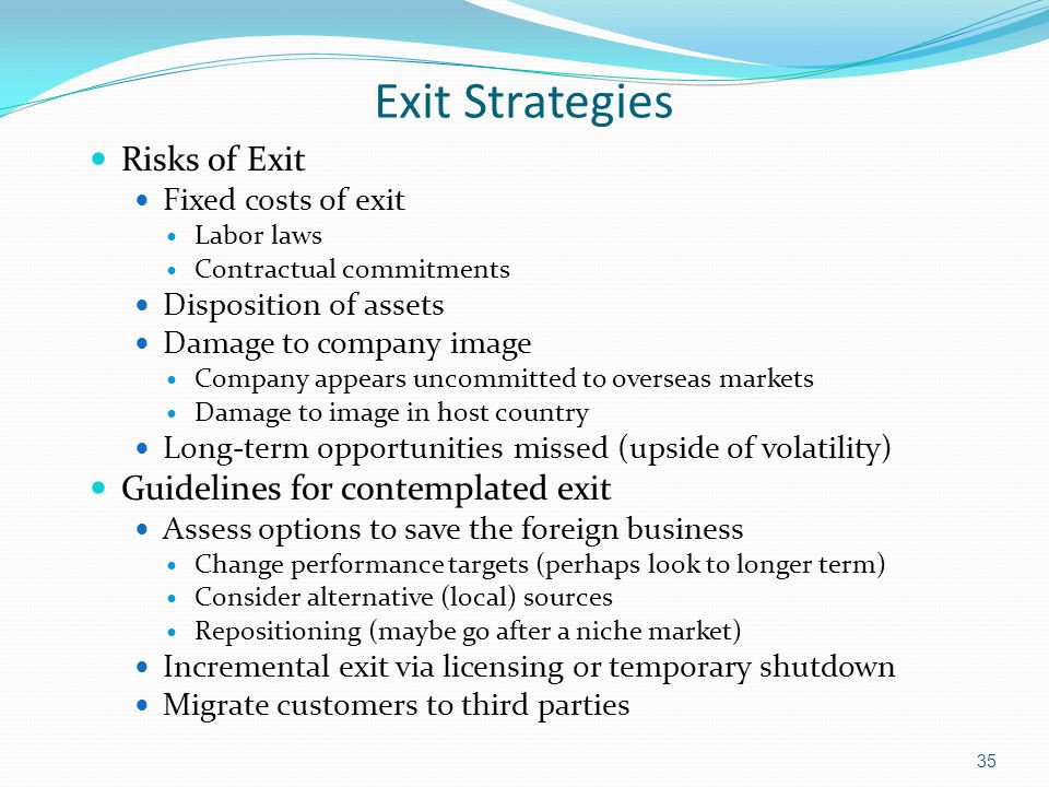 Exit Strategies Risks of Exit Guidelines for contemplated exit