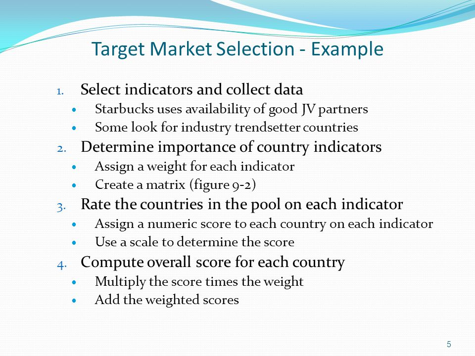 Target Market Selection - Example