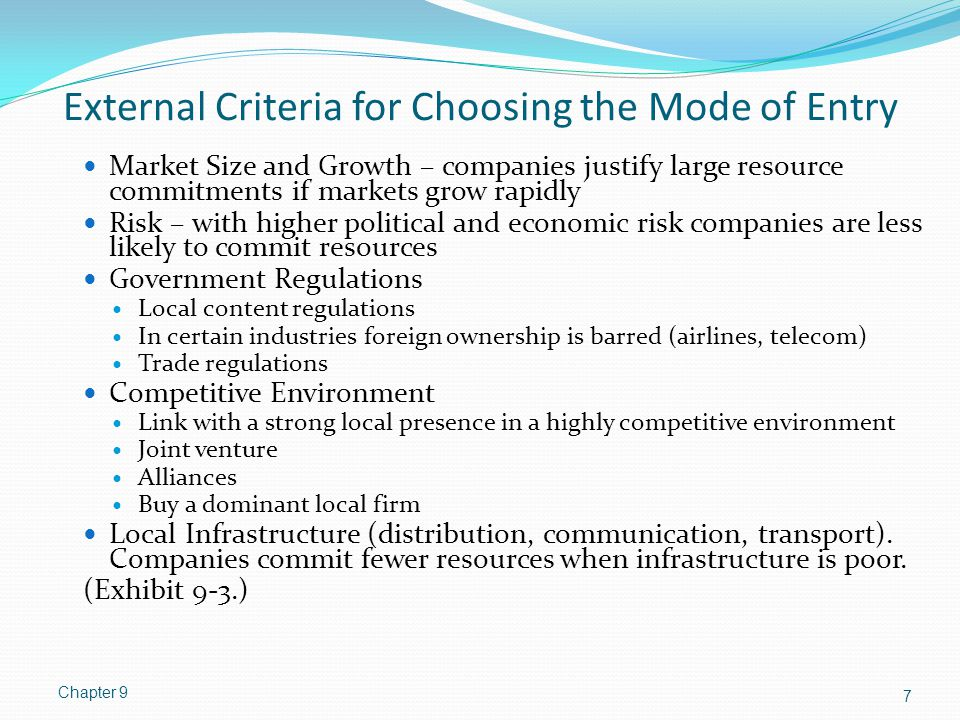External Criteria for Choosing the Mode of Entry