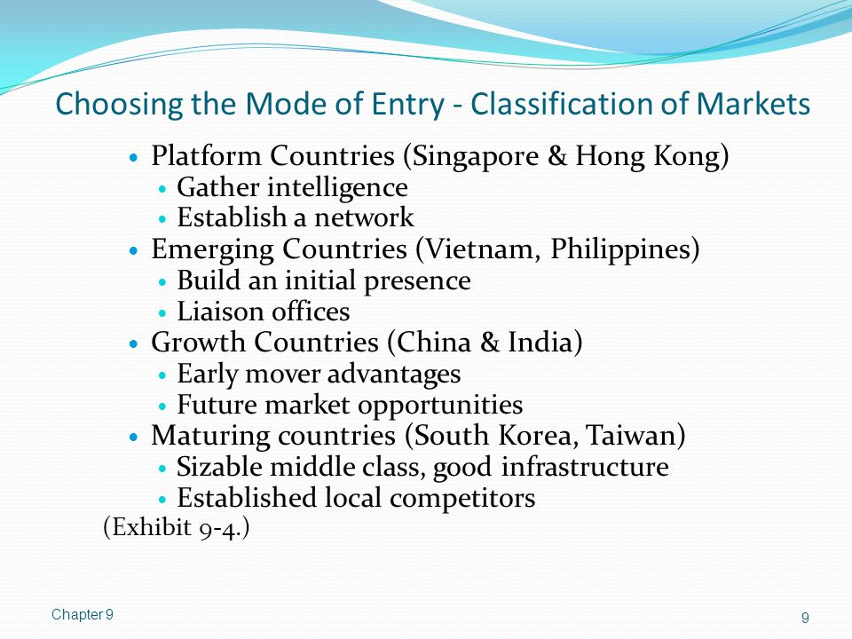 Choosing the Mode of Entry - Classification of Markets