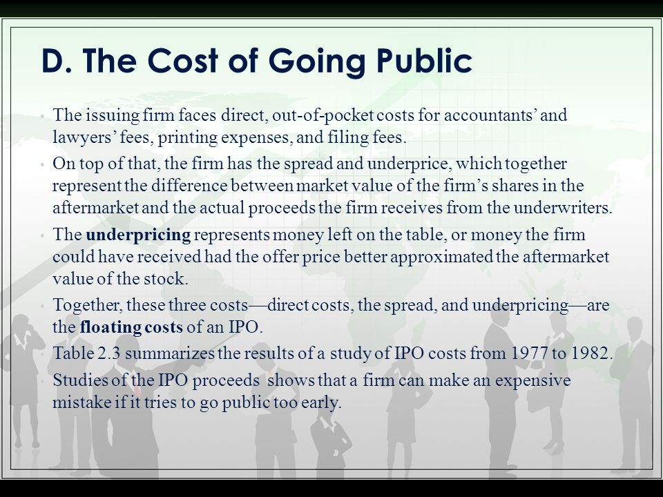 D. The Cost of Going Public