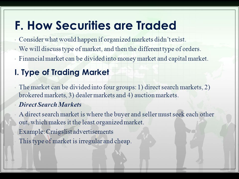 F. How Securities are Traded