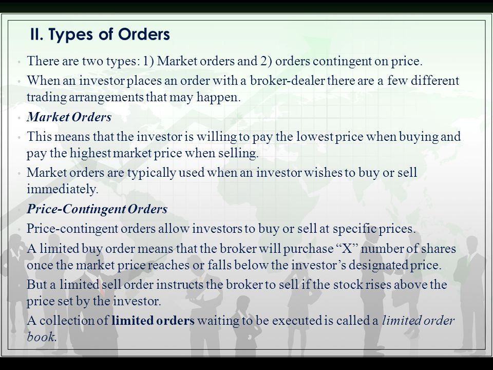 II. Types of Orders There are two types: 1) Market orders and 2) orders contingent on price.