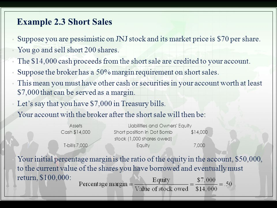 Example 2.3 Short Sales Suppose you are pessimistic on JNJ stock and its market price is $70 per share.