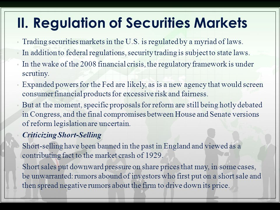 II. Regulation of Securities Markets